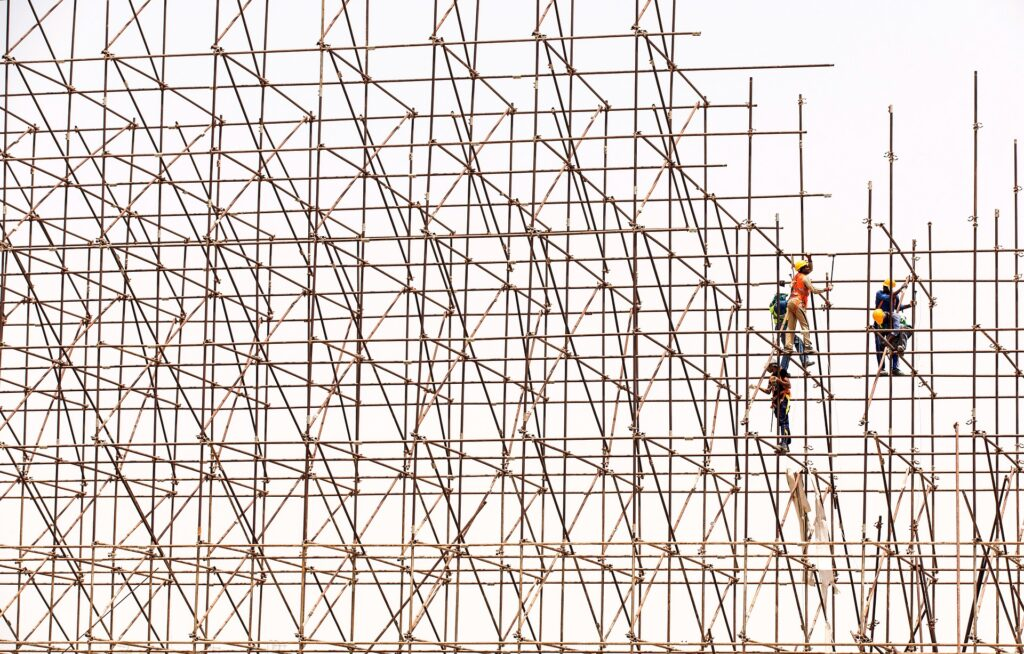 scaffolding and men